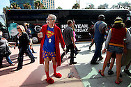 John Ash dresses as a Superman charactor at Comic Con, Friday, July 19, 2013 in San Diego, California.  Comic Con International Convention is the Worlds largest Comic and entertainment event and hosts celebrity movie panels, a trade floor with comic book, Science Fiction and action film related booths, as well as artist workshops,  movie premieres and much more.(Photo by Sandy Huffaker/Getty Images)