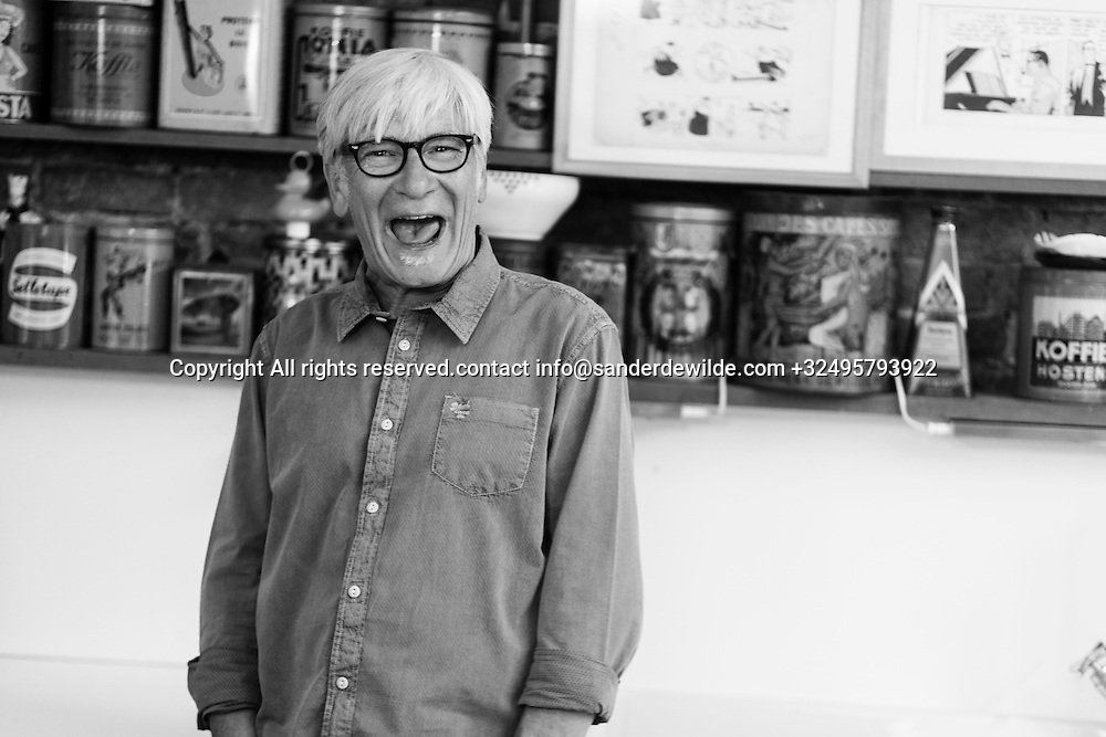 Brussels, Belgium 29 August 2014. Johan De Moor, famous Belgian cartoonist and son of Bob De Moor, right hand of Tintin's Hergé laughs expressive in his studio. © Sander de Wilde pour M le magazine du Monde
