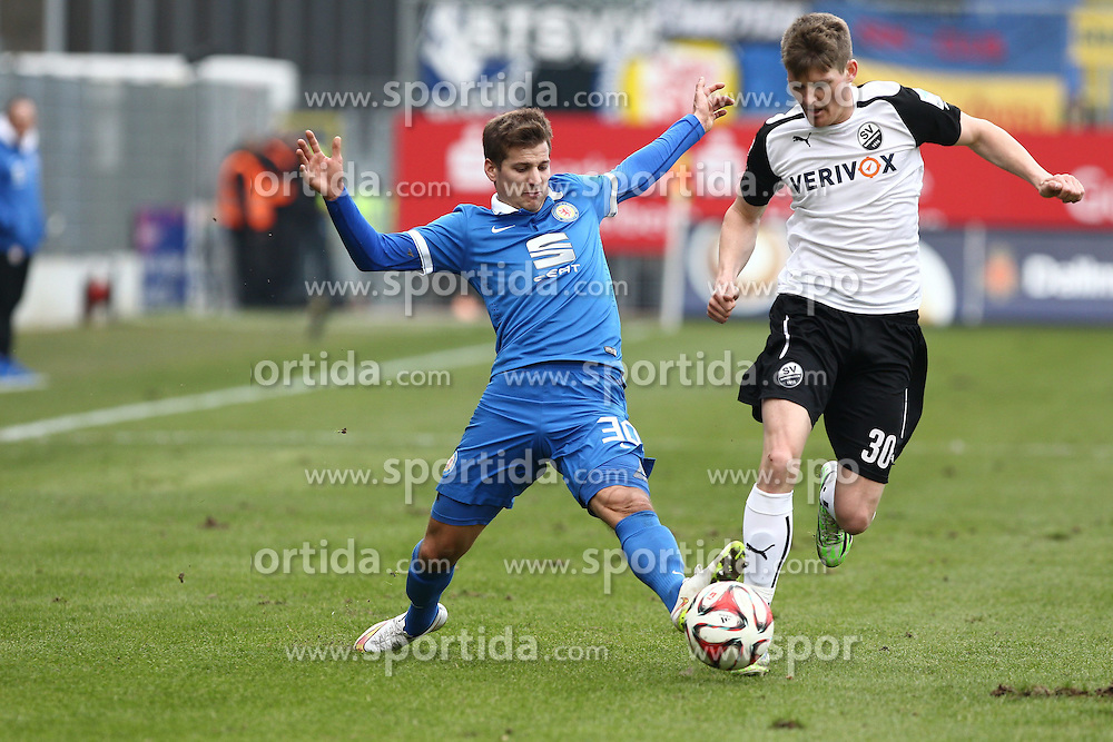 15.03.2015, Hardtwald, Sandhausen, GER, 2. FBL, SV 1916 Sandhausen vs Eintracht Braunschweig, 25. Runde, im Bild Lukas Kuebler (SV Sandhausen) im Zweikampf mit Hendrick Zuck (Eintracht Braunschweig) // during the 2nd German Bundesliga 25th round match between SV 1916 Sandhausen and Eintracht Braunschweig at the Hardtwald in Sandhausen, Germany on 2015/03/15. EXPA Pictures &copy; 2015, PhotoCredit: EXPA/ Eibner-Pressefoto/ Bermel<br /> <br /> *****ATTENTION - OUT of GER*****