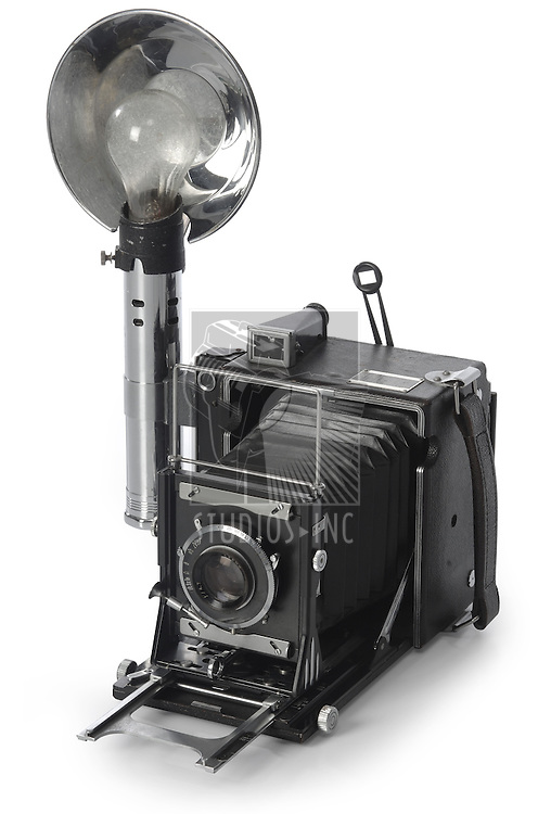 Retro SeedGraphic camera shot on white background from an isomorphic view