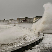 Wild storms on the Ayrshire Coast at Prestwick after the Weather Bomb hit the UK.