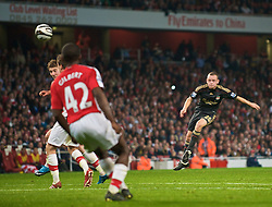 LONDON, ENGLAND - Wednesday, October 28, 2009: Liverpool's Jay Spearing shoots against Arsenal during the League Cup 4th Round match at Emirates Stadium. (Photo by David Rawcliffe/Propaganda)