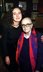 Veteran harmonica player MR LARRY ADLER and his daughter KATELYN ADLER, at a party in London on 26th January 2000.OAJ 36