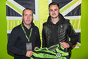 Man of the match Forest Green Rovers Aaron Collins(10) with match sponsors Wheatly Printers during the The FA Cup match between Forest Green Rovers and Billericay Town at the New Lawn, Forest Green, United Kingdom on 9 November 2019.
