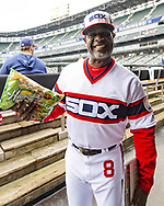 CHICAGO - APRIL 07:  First base coach Daryl Boston #8 of the Chicago White Sox looks on against the Seattle Mariners on April 7, 2019 at Guaranteed Rate Field in Chicago, Illinois.  (Photo by Ron Vesely)  Subject:  Daryl Boston