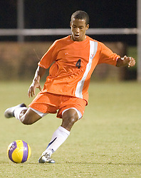 Virginia Cavaliers D T.J. Cyrus (4)..The #4 ranked Virginia Cavaliers men's soccer team faced the Mount Saint Mary's Mountaineers at Klockner Stadium in Charlottesville, VA on September 25, 2007.
