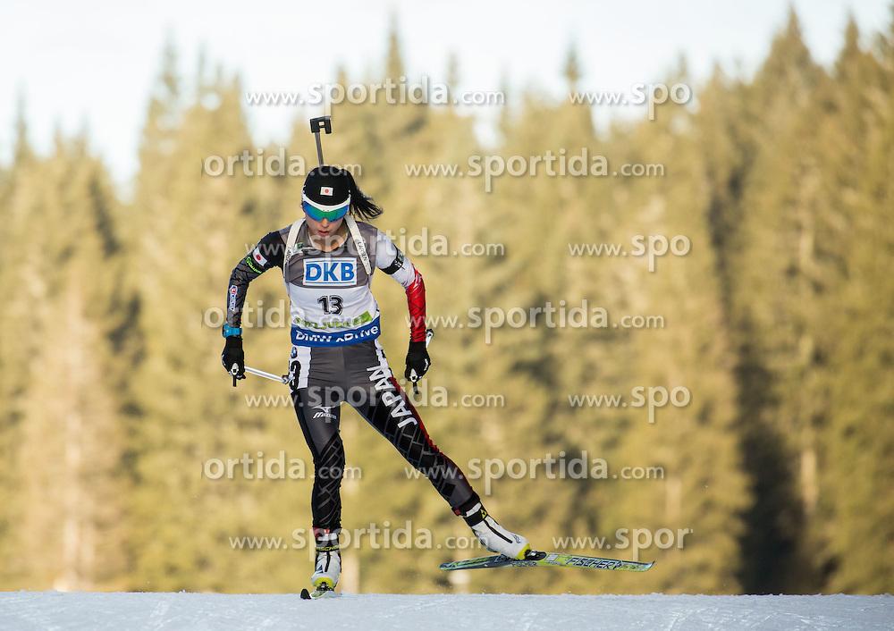 Fuyuko Tachizaki (JPN) competes during Women 7,5 km Sprint at day 2 of IBU Biathlon World Cup 2015/16 Pokljuka, on December 18, 2015 in Rudno polje, Pokljuka, Slovenia. Photo by Vid Ponikvar / Sportida