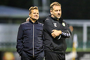 Forest Green Rovers manager, Mark Cooper gives instructions during the EFL Trophy match between Forest Green Rovers and Cheltenham Town at the New Lawn, Forest Green, United Kingdom on 4 September 2018.