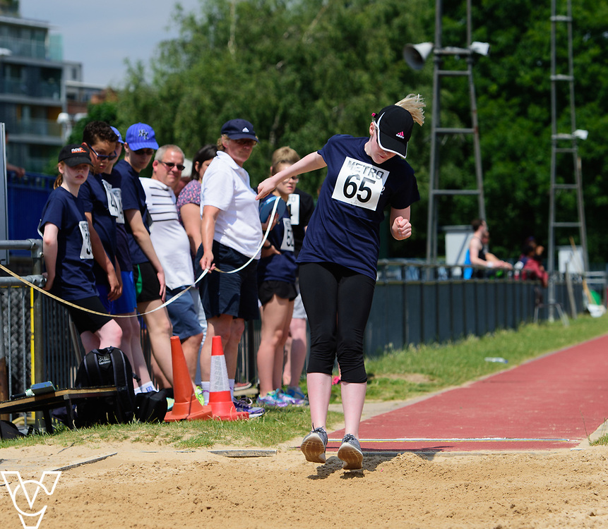 Metro Blind Sport's 2017 Athletics Open held at Mile End Stadium.  Long jump.  Emma Quigley<br /> <br /> Picture: Chris Vaughan Photography for Metro Blind Sport<br /> Date: June 17, 2017