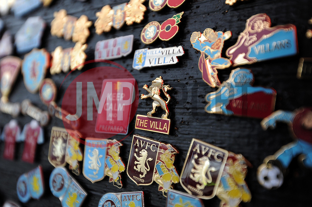 Match Day Badges are displayed prior to kick off. - Photo mandatory by-line: Harry Trump/JMP - Mobile: 07966 386802 - 29/04/15 - SPORT - FOOTBALL - Birmingham - Villa Park - Aston Villa v Everton - Barclays Premier League