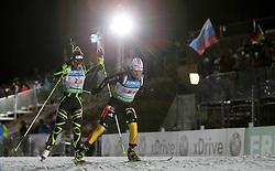 04.01.2012, DKB-Ski-ARENA, Oberhof, GER, E.ON IBU Weltcup Biathlon 2012, Staffel Frauen, im Bild Andrea Henkel (GER) vor Marie Dorin Habert (FRA) // during relay Ladies of E.ON IBU World Cup Biathlon, Thüringen, Germany on 2012/01/04. EXPA Pictures © 2012, PhotoCredit: EXPA/ nph/ Hessland..***** ATTENTION - OUT OF GER, CRO *****