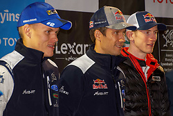 October 26, 2017 - Deeside, Wales, United Kingdom - (L-R) Ott Tanak (EST), Sébastien Ogier (FRA) and Elfyn Evans (GBR) of M-Sport pose for photographs prior to the Rally GB round of the 2017 FIA World Rally Championship. (Credit Image: © Hugh Peterswald/Pacific Press via ZUMA Wire)