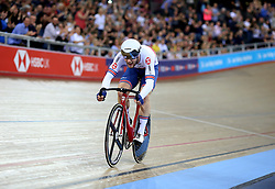 Matthew Walls of Great Britain during the Men's Omnium Points Race 4/4 during day three of the Tissot UCI Track Cycling World Cup at Lee Valley VeloPark, London.