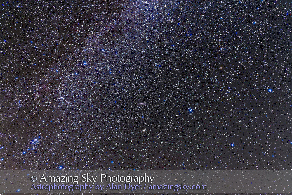 Wide-angle view of the array of classic autumn constellations, Andromeda, Pegasus, Perseus and Cassiopeia. Taken Sept. 11, 2010, with 24mm lens at f/4 and Canon 5D MkII camera at ISO 800 for stack of 2 x 6 minute exposures plus 2 x 6 min exposures taken thru Kenko soft fodus filter for star glows.