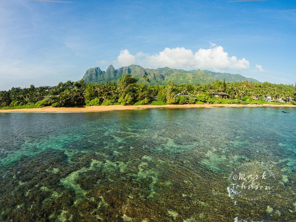 Aliomanu Beach & Kalalea Mountains, Kauai, Hawaii, USA