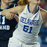 11/11/11 Newark DE: Senior Center #51 Sarah Acker battles for position during a week one NCAA Women's College basketball game, Friday, Nov. 11, 2011 at the Bob carpenter center in Newark Delaware...Delaware would go on to defeat the Rhode Island rams 89-53...Special to The News Journal/SAQUAN STIMPSON