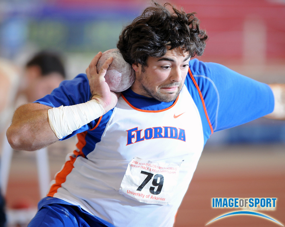 Mar 14, 2008; Fayetteville, AR, USA; Beau Burroughs of Florida was 10th in the shot put at 58-10 3/4 (17.95m) in the NCAA indoor track and field championships at the Randal Tyson Center.