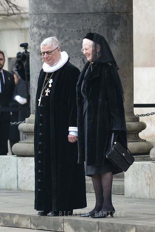 20.02.2018. Copenhagen, Denmark. <br /> Queen Margrethe of Denmark with Royal priest Erik Nordmand Svendsen outside at the Christiansborg Palace Church after the funeral service .<br /> Photo: © Ricardo Ramirez.