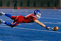 Folsom Bulldogs Parker Clayton (8), can't ,make the catch during the second quarter as the Folsom High School Bulldogs varsity football team hosts the Central High School Grizzlies in the CIF NorCal Division I-AA title game, Friday Dec 8, 2017. The winner of this game will face the CIF SoCal winner in the State Championship game at Sacramento State, Friday Dec 15th.<br /> photo by Brian Baer