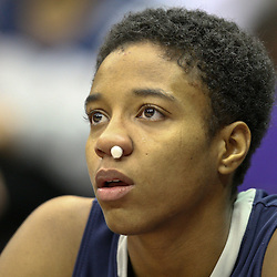 November 16, 2011; Baton Rouge, LA; Georgetown Hoyas guard Alexa Roche (34) sits on the bench after receiving a bloody nose against the LSU Tigers during the second half of a game at the Pete Maravich Assembly Center. LSU defeated Georgetown 51-40. Mandatory Credit: Derick E. Hingle-US PRESSWIRE
