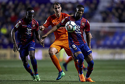 April 19, 2018 - Valencia, Valencia, Spain - Ignasi Miguel Pons (C) of Malaga CF competes for the ball with Boateng (L) and Lerma of Levante UD during the La Liga game between Levante UD and Malaga CF at Ciutat de Valencia on April 19, 2018 in Valencia, Spain  (Credit Image: © David Aliaga/NurPhoto via ZUMA Press)