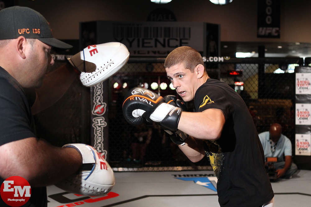 October 6, 2011; Houston, TX.; USA;  Joe Lauzon works out for the media at the George R. Brown Convention Center in Houston, TX.