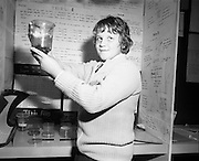 03/01/1975.01/03/1975.3rd January 1975.The Aer Lingus Young Scientist Exhibition at the RDS, Dublin...Picture shows Donncha Mac Fhionnlaoich of Colaiste Mhuire, Cearnog Parnell Dublin who won first prize in the Junior Section for Biochemistry and Physiology with a study entitled 'Gniomhaiocht einsniu fungais ar substrait eagsula a thaispeaint.'