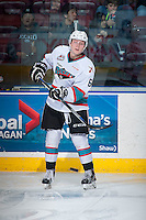 KELOWNA, CANADA - DECEMBER 28: Jonathan Smart #6 of Kelowna Rockets stands on the ice against the Kamloops Blazers on December 28, 2015 at Prospera Place in Kelowna, British Columbia, Canada.  (Photo by Marissa Baecker/Shoot the Breeze)  *** Local Caption *** Jonathan Smart;