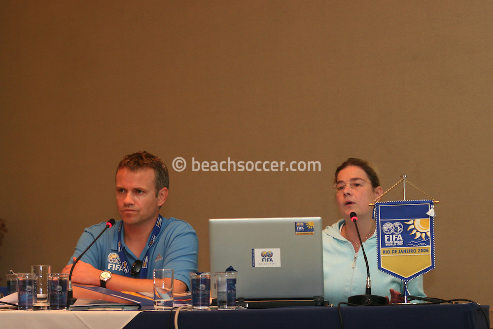 Football - FIFA Beach Soccer World Cup 2006 - Team Coordination Meeting for Group Stage - Rio de Janeiro - Brazil 01/11/2006 - Sven Schaeffner and Delia Fischer speaks during the meeting -<br /> Event Title Boad Mandatory Credit: FIFA / Ricardo Moraes