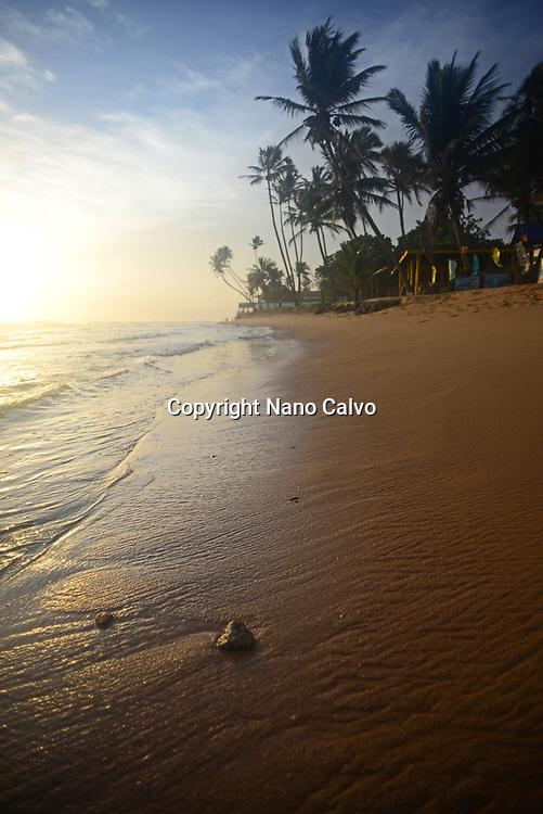 Hikkaduwa beach at sunset, Sri Lanka