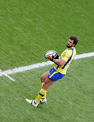 Brock James of ASM Clermont prepares to kick off the action during the French Top 14 Semi Final match between ASM Clermont Auvergne and RC Toulon at the Stade de Toulouse on June 3, 2012 in Toulouse, France.