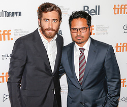 Executive Producer/ Actor JAKE GYLLENHAAL (L) and Actor MICHAEL PENA attend the 'End Of Watch' Premiere during the 2012 Toronto International Film Festival at The Roy Thomson Hall, Saturday September 8th, 2012. Photo by David Tabor/i-Images.
