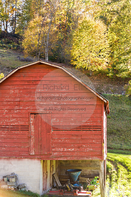 A old wooden barn along the Quilt Trails near Burnsville, North Carolina. The quilt trails honor handmade quilt designs of the rural Appalachian region.