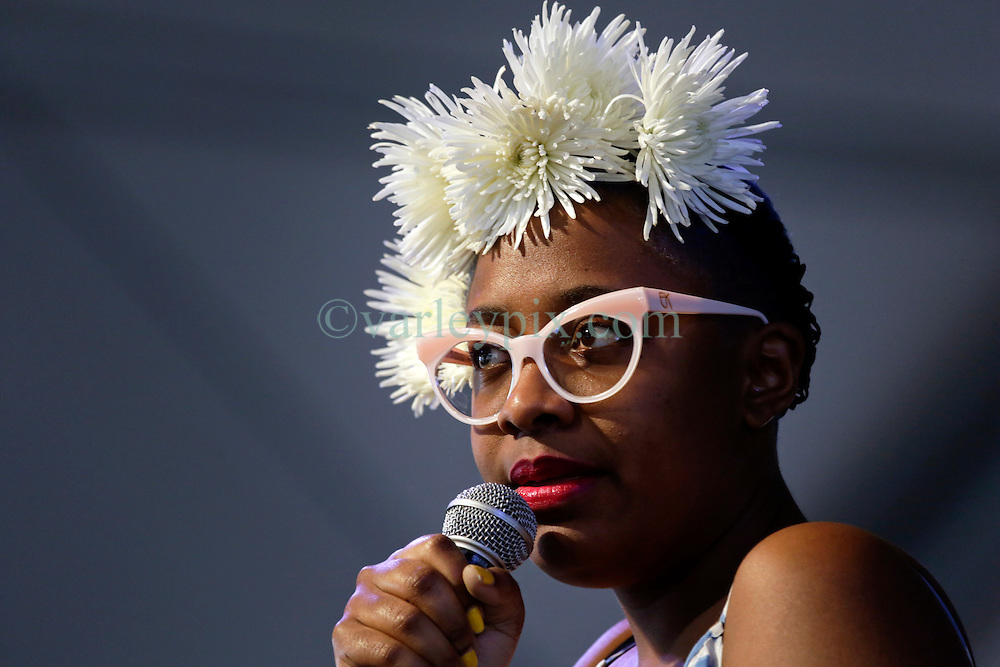 01 May 2015. New Orleans, Louisiana.<br /> The New Orleans Jazz and Heritage Festival. <br /> Cécile McLorin Salvant performes on the WWOZ Jazz Tent stage.<br /> Photo; Charlie Varley/varleypix.com