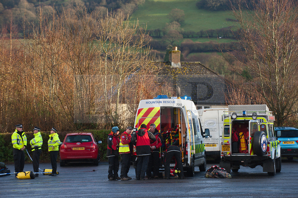 © Licensed to London News Pictures. 09/02/2014. Llangynidr,Wales, UK. Brecon mountain rescue service at the Operation Centre at the village hall Llangynidr.A canoeist went missing today around midday on the River Usk. Photo credit : Graham M. Lawrence/LNP