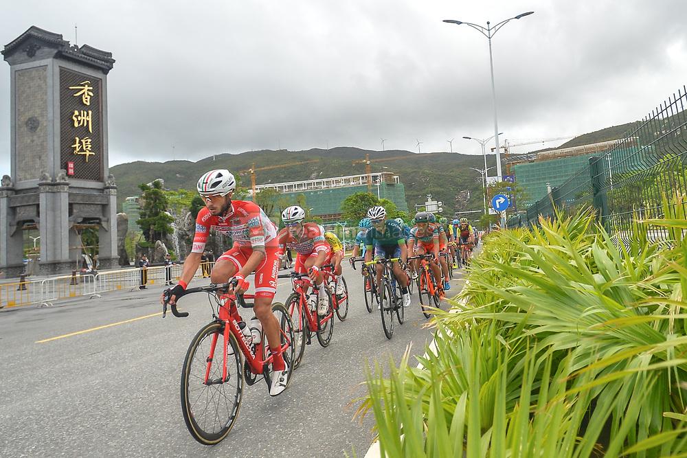 September 24, 2017 - Zhuhai, Guangdong, China - (Left-Right) Raffaello Bonusi and Matteo Malucelli from Androni Sidermec Bottecchia team lead the peloton during the fifth and final stage of the 2017 Tour of China 2, the 91.2km Zhuhai Hengqin Circuit Race. .On Sunday, 24 September 2017, in Hengqin district, Zhuhai City, Guangdong Province, China. (Credit Image: © Artur Widak/NurPhoto via ZUMA Press)