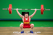 Qingquan Long of China winning the Gold medal in the Men's 56 Kg Weightlifting during XXXI 2016 Olympic Summer Games at Rio de Janeiro, Brazil.<br /> Picture by EXPA Pictures/Focus Images Ltd 07814482222<br /> 08/08/2016<br /> *** UK &amp; IRELAND ONLY ***<br /> <br /> EXPA-Eibner-Pressefoto-160808-5051.jpg