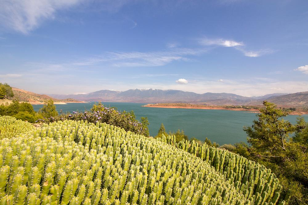 Panoramic view over Barrage Bin El-Ouidane, high Atlas, Morocco.