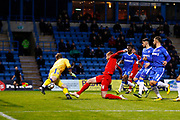 Leyton Orient's James Dayton's free kick go's past Gillingham's 'keeper Tomas Holy for the first goal during the The FA Cup match between Gillingham and Leyton Orient at the MEMS Priestfield Stadium, Gillingham, England on 4 November 2017. Photo by John Marsh.
