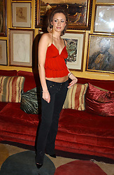 CAMILLA AL FAYED daughter of Mohamed Al Fayed owner of Harrod's at a private dinner and presentation of Issa's Autumn-Winter 2005-2006 collection held at Annabel's, 44 Berkeley Square, London on 15th March 2005.<br /><br />NON EXCLUSIVE - WORLD RIGHTS