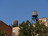 Water towers on Park Avenue buildings seen from East 81st street.