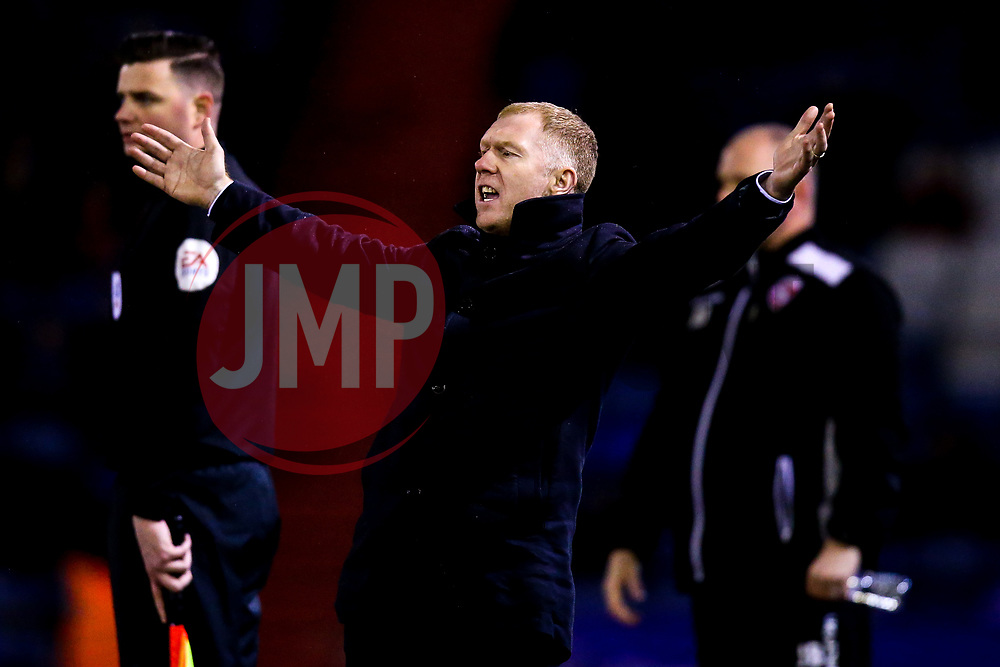Oldham Athletic manager Paul Scholes cuts a frustrated figure - Mandatory by-line: Robbie Stephenson/JMP - 19/02/2019 - FOOTBALL - Boundary Park - Oldham, England - Oldham Athletic v Morecambe - Sky Bet League Two