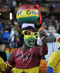 Ghana fans get in the mood  during the 2010 FIFA World Cup South Africa Quarter Final match between Uruguay and Ghana at the Soccer City stadium on July 2, 2010 in Johannesburg, South Africa.