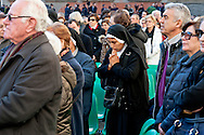 Rome, Italy. 5th Febraury 2016<br /> A nun prays during the procession of the relics  of St. Pio of Pietrelcina and St. Leopold Mandic from the Church of San Salvatore in Lauro to go to the Vatican.