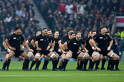 The New Zealand team perform the haka prior to the match - Mandatory byline: Patrick Khachfe/JMP - 07966 386802 - 24/10/2015 - RUGBY UNION - Twickenham Stadium - London, England - South Africa v New Zealand - Rugby World Cup 2015 Semi Final.