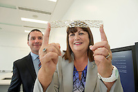 17/09/2013  REPRO FREE Donogh O'Shaughnessy Medtronic with Ms Máire Geoghegan-Quinn, EU Commissioner for Innovation, Research and Science with a stent at the opening of the Medtronic Global Innovation centre at Medtronic, Galway. Photo:Andrew Downes