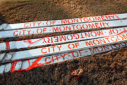 07 December 2014. Montgomery, Alabama. <br /> City signs lying in the street near the Alabama State Capitol building. <br /> Photo; Charlie Varley/varleypix.com