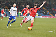 Walsall Midfielder, Anthony Forde unleashes a cross during the Sky Bet League 1 match between Bury and Walsall at Gigg Lane, Bury, England on 16 January 2016. Photo by Mark Pollitt.
