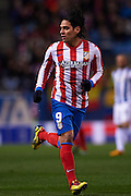 MADRID, SPAIN- FEBRUARY 24: Radamel Falcao of Club Atletico de Madrid in action during the Liga BBVA between Atletico de Madrid and RCD Espanyol at the Vicente Calderon stadium on February 24, 2013 in Madrid, Spain. (Photo by Aitor Alcalde Colomer).
