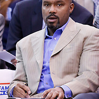 25 January 2016: Detroit Pistons Assistant Coach Tim Hardaway is seen during the Detroit Pistons 95-92 victory over the Utah Jazz, at the Vivint Smart Home Arena, Salt Lake City, Utah, USA.